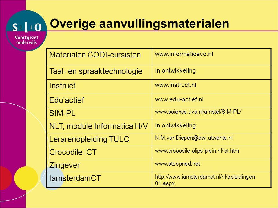 Overige aanvullingsmaterialen Materialen CODI-cursisten www.informaticavo.nl Taal- en spraaktechnologie In ontwikkeling Instruct www.instruct.nl Edu'a