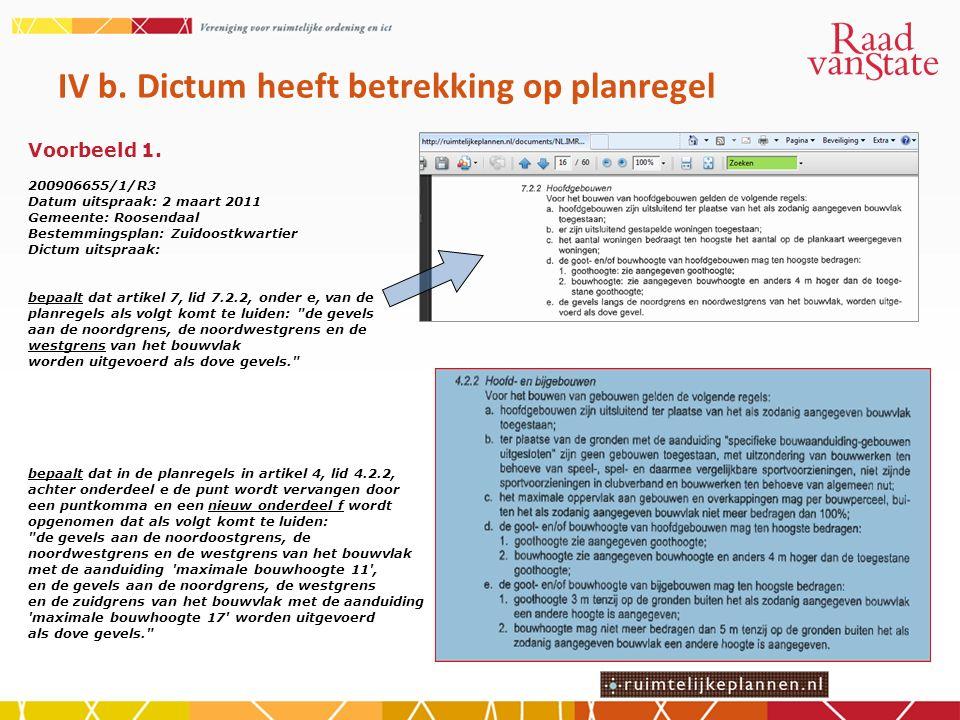 IV b. Dictum heeft betrekking op planregel Voorbeeld 1.
