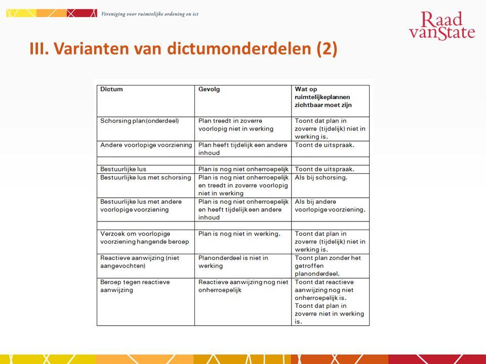 III. Varianten van dictumonderdelen (2)