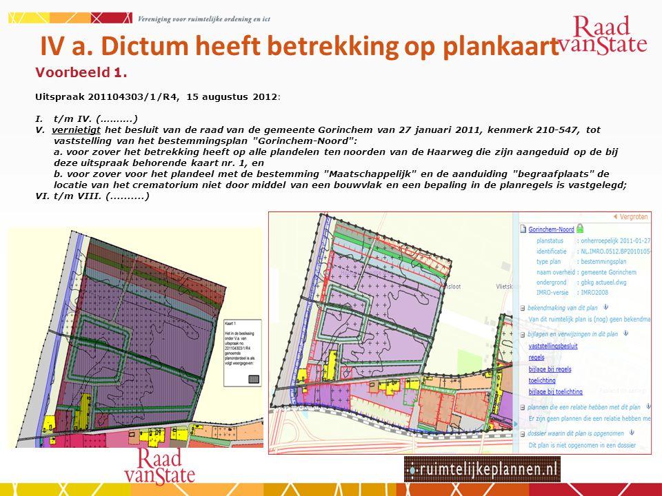 IV a. Dictum heeft betrekking op plankaart Voorbeeld 1.