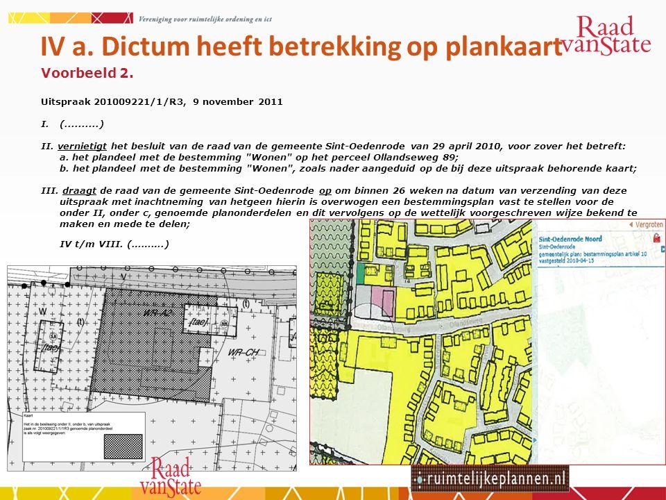 IV a. Dictum heeft betrekking op plankaart Voorbeeld 2.