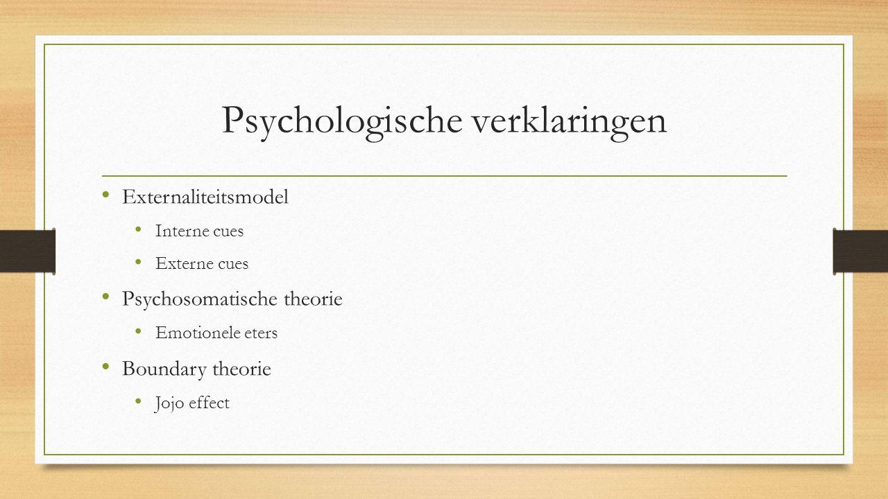 Psychologische verklaringen Externaliteitsmodel Interne cues Externe cues Psychosomatische theorie Emotionele eters Boundary theorie Jojo effect