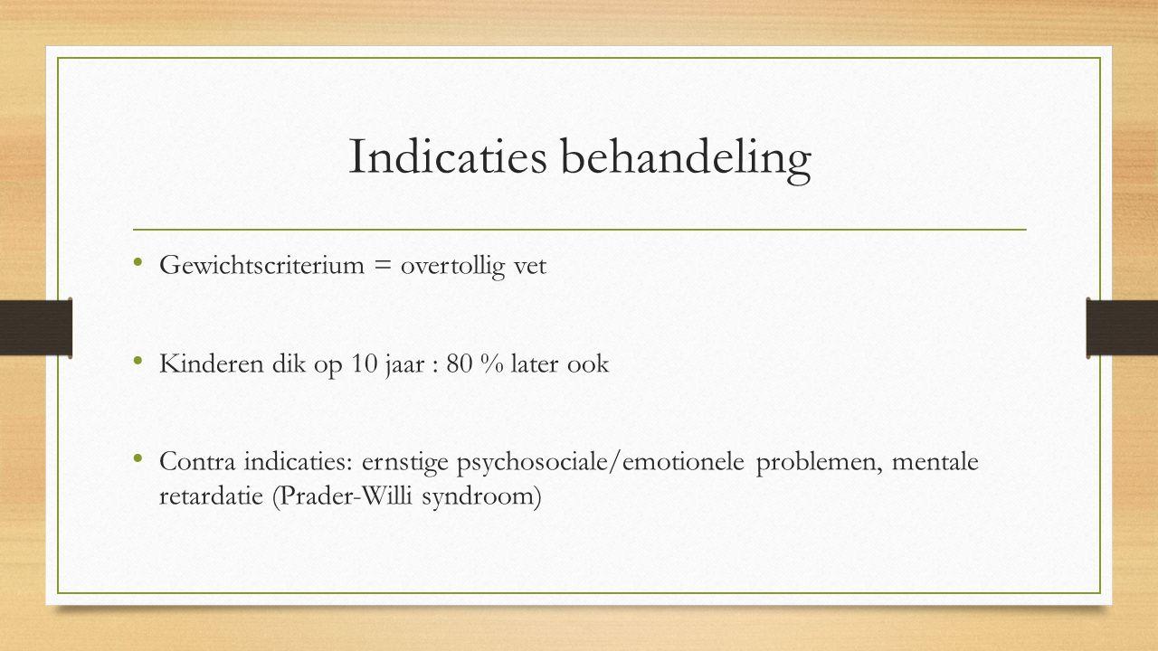 Indicaties behandeling Gewichtscriterium = overtollig vet Kinderen dik op 10 jaar : 80 % later ook Contra indicaties: ernstige psychosociale/emotionele problemen, mentale retardatie (Prader-Willi syndroom)