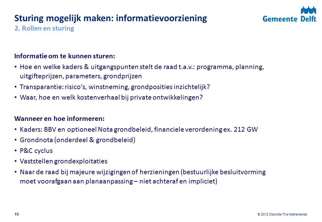 © 2012 Deloitte The Netherlands Sturing mogelijk maken: informatievoorziening Informatie om te kunnen sturen: Hoe en welke kaders & uitgangspunten ste