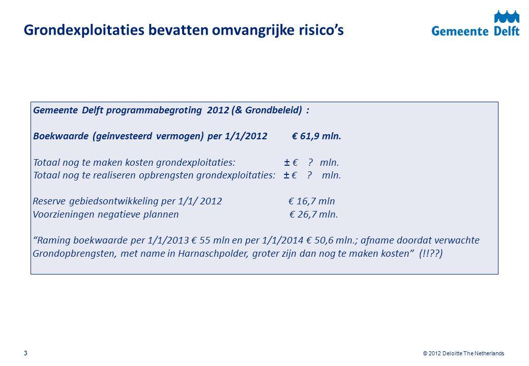 © 2012 Deloitte The Netherlands Definiëring 14 Definitie Grondexploitatie: De begroting van alle met het proces van de ruimtelijke ontwikkeling van een gebied of locatie samenhangende uitgaven en inkomsten in de tijd: financiële prognose ter onderbouwing van ruimtelijke plannen Vaststelling grondexploitatie: financieel en bestuurlijk kaderstellend Bij herziening opnieuw bestuurlijke vaststelling (niet per implicatie bij jaarrekening) Instrument van budgetbewaking, scenarioberekening en risicobeheersing Grondexploitatie(saldo) is momentopname (schijnnauwkeurigheid), inzicht in bandbreedtes nodig Saldo netto contant per 1/1/2012: winst pas na realisatie, voorziening voor voor verwacht verlies.