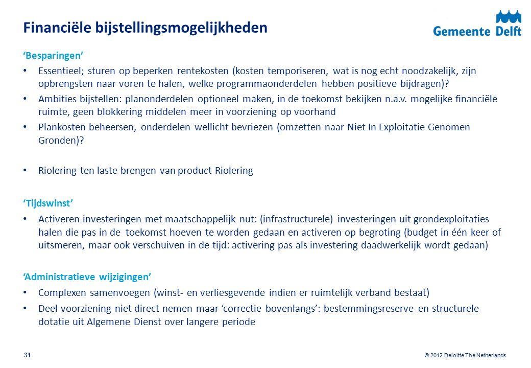 © 2012 Deloitte The Netherlands Financiële bijstellingsmogelijkheden 'Besparingen' Essentieel; sturen op beperken rentekosten (kosten temporiseren, wat is nog echt noodzakelijk, zijn opbrengsten naar voren te halen, welke programmaonderdelen hebben positieve bijdragen).