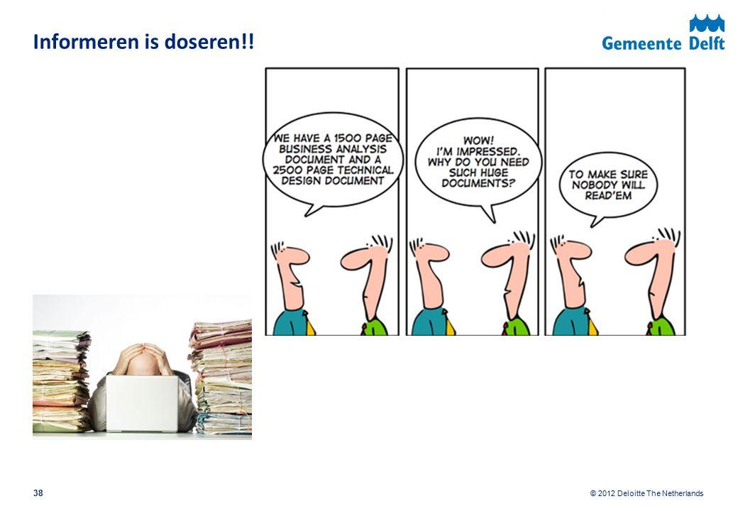 © 2012 Deloitte The Netherlands Informeren is doseren!! 38