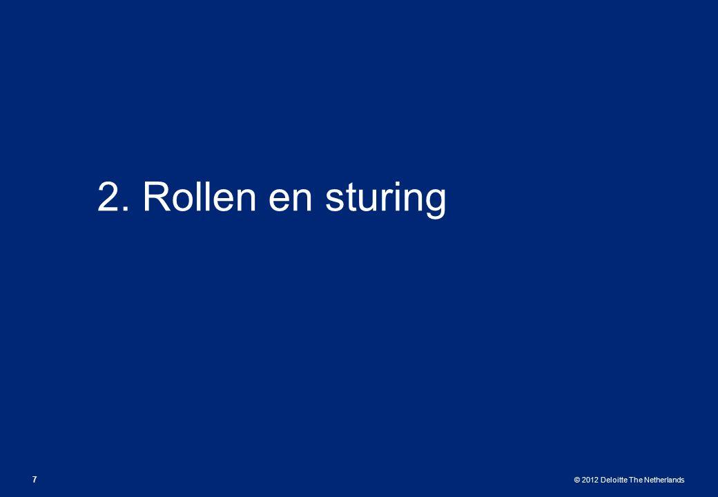 © 2012 Deloitte The Netherlands 2. Rollen en sturing 7