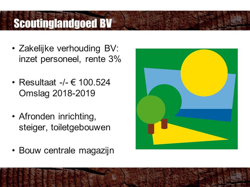 10 Scoutinglandgoed BV Zakelijke verhouding BV: inzet personeel, rente 3% Resultaat -/- € 100.524 Omslag 2018-2019 Afronden inrichting, steiger, toiletgebouwen Bouw centrale magazijn