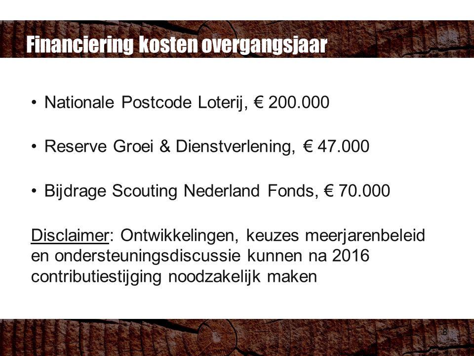 8 Nationale Postcode Loterij, € 200.000 Reserve Groei & Dienstverlening, € 47.000 Bijdrage Scouting Nederland Fonds, € 70.000 Disclaimer: Ontwikkelingen, keuzes meerjarenbeleid en ondersteuningsdiscussie kunnen na 2016 contributiestijging noodzakelijk maken Financiering kosten overgangsjaar