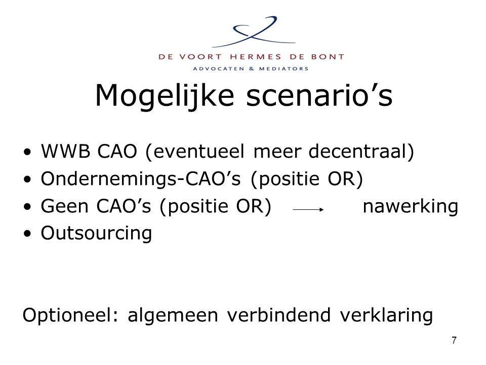 7 Mogelijke scenario's WWB CAO (eventueel meer decentraal) Ondernemings-CAO's (positie OR) Geen CAO's (positie OR)nawerking Outsourcing Optioneel: algemeen verbindend verklaring