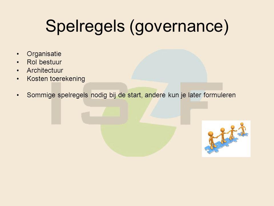 Spelregels (governance) Organisatie Rol bestuur Architectuur Kosten toerekening Sommige spelregels nodig bij de start, andere kun je later formuleren