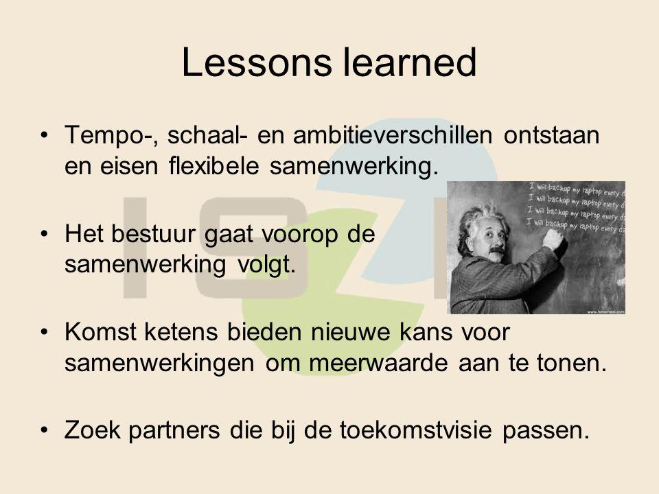 Lessons learned Tempo-, schaal- en ambitieverschillen ontstaan en eisen flexibele samenwerking. Het bestuur gaat voorop de samenwerking volgt. Komst k