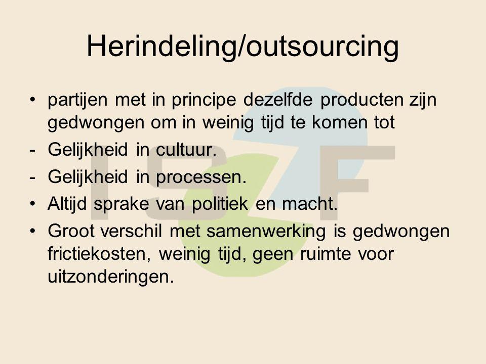 Herindeling/outsourcing partijen met in principe dezelfde producten zijn gedwongen om in weinig tijd te komen tot -Gelijkheid in cultuur. -Gelijkheid
