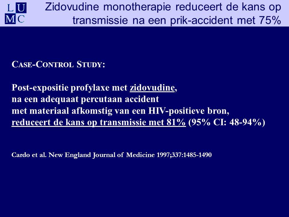 C ASE -C ONTROL S TUDY : Post-expositie profylaxe met zidovudine, na een adequaat percutaan accident met materiaal afkomstig van een HIV-positieve bron, reduceert de kans op transmissie met 81% (95% CI: 48-94%) Cardo et al.