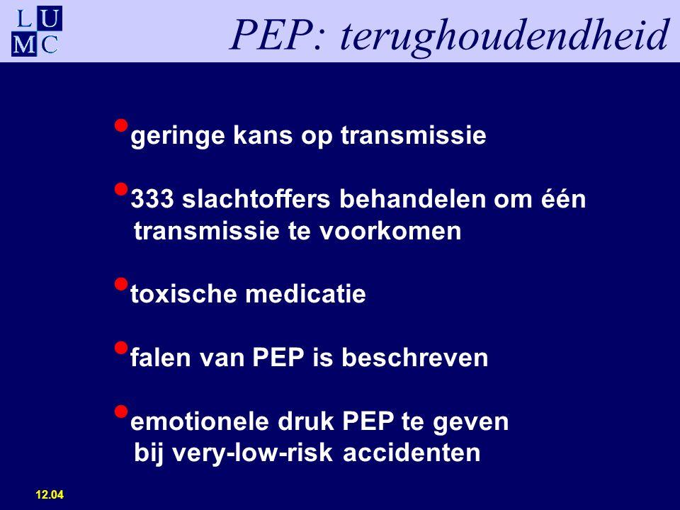 12.04 geringe kans op transmissie 333 slachtoffers behandelen om één transmissie te voorkomen toxische medicatie falen van PEP is beschreven emotionele druk PEP te geven bij very-low-risk accidenten PEP: terughoudendheid