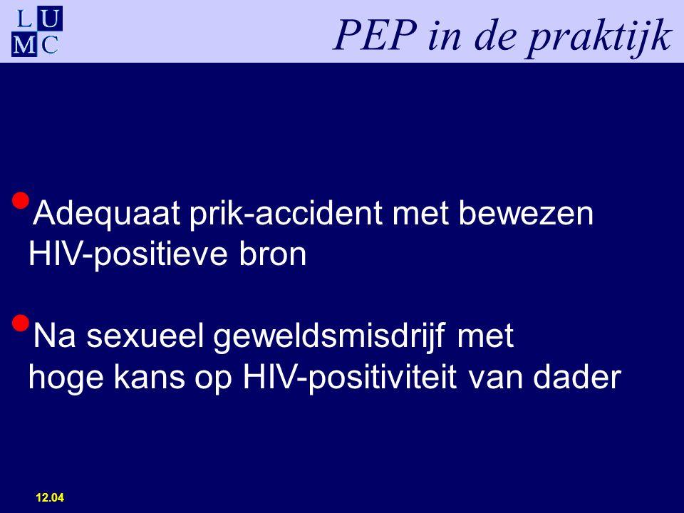 12.04 PEP in de praktijk Adequaat prik-accident met bewezen HIV-positieve bron Na sexueel geweldsmisdrijf met hoge kans op HIV-positiviteit van dader