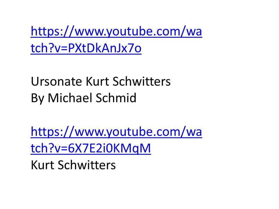 https://www.youtube.com/wa tch?v=PXtDkAnJx7o Ursonate Kurt Schwitters By Michael Schmid https://www.youtube.com/wa tch?v=6X7E2i0KMqM Kurt Schwitters