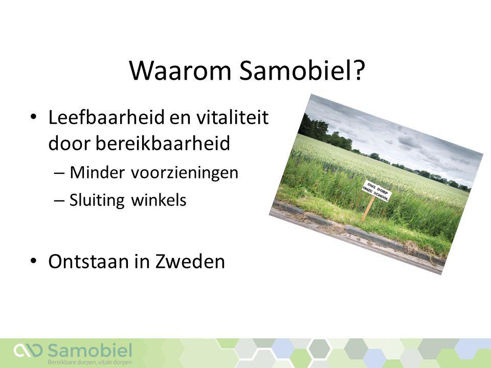 Waarom Samobiel? Leefbaarheid en vitaliteit door bereikbaarheid – Minder voorzieningen – Sluiting winkels Ontstaan in Zweden