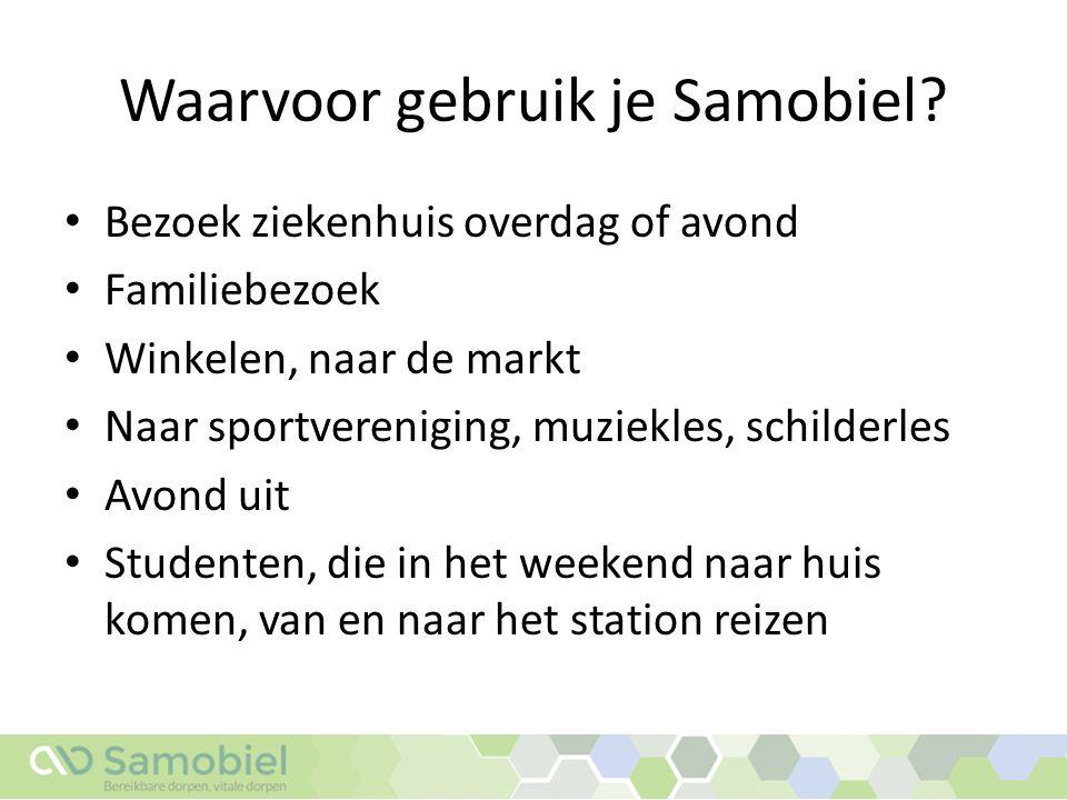 Hoe werkt Samobiel.1.Je meldt of vraagt een rit aan via je Samobiel dorpssite.