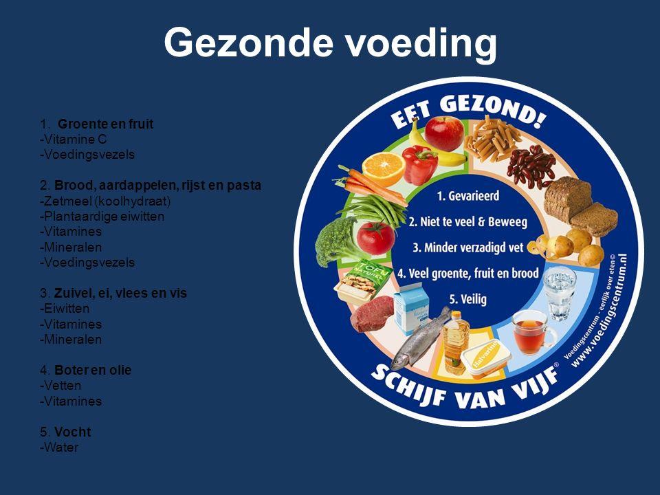 Gezonde voeding 1. Groente en fruit -Vitamine C -Voedingsvezels 2. Brood, aardappelen, rijst en pasta -Zetmeel (koolhydraat) -Plantaardige eiwitten -V