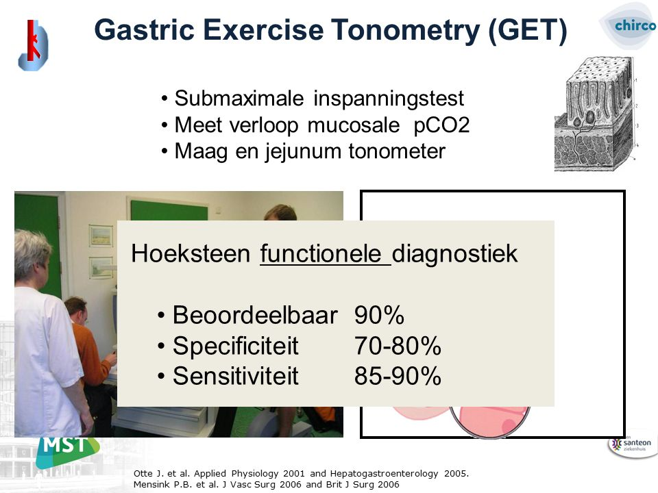 Gastric Exercise Tonometry (GET) Submaximale inspanningstest Meet verloop mucosale pCO2 Maag en jejunum tonometer Otte J.