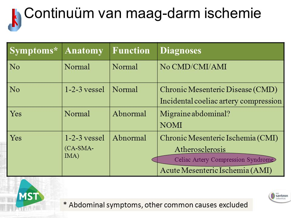 Symptoms*AnatomyFunctionDiagnoses NoNormal No CMD/CMI/AMI No1-2-3 vesselNormalChronic Mesenteric Disease (CMD) Incidental coeliac artery compression YesNormalAbnormalMigraine abdominal.