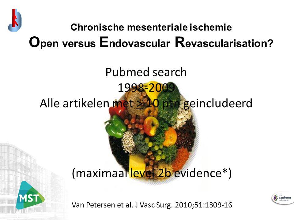 Chronische mesenteriale ischemie O pen versus E ndovascular R evascularisation? Van Petersen et al. J Vasc Surg. 2010;51:1309-16 Pubmed search 1998-20