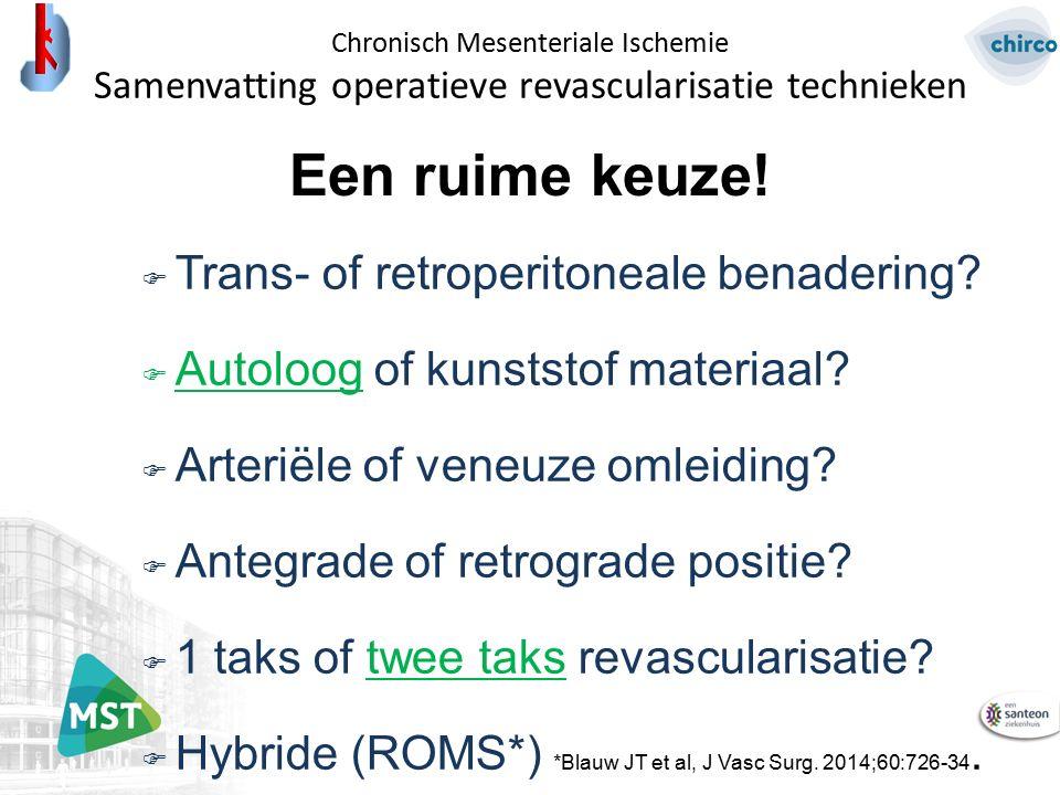 Een ruime keuze!  Trans- of retroperitoneale benadering?  Autoloog of kunststof materiaal?  Arteriële of veneuze omleiding?  Antegrade of retrogra