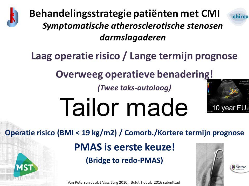 Behandelingsstrategie patiënten met CMI Symptomatische atherosclerotische stenosen darmslagaderen Tailor made Van Petersen et al. J Vasc Surg 2010;. B