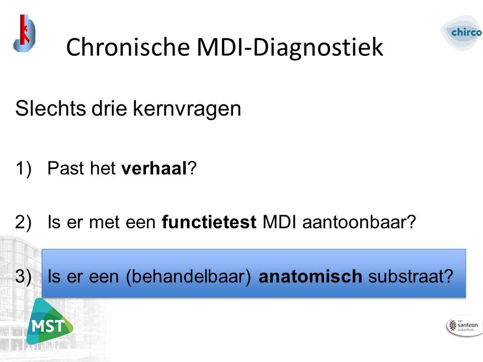 Slechts drie kernvragen 1)Past het verhaal. 2)Is er met een functietest MDI aantoonbaar.