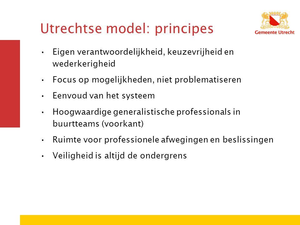 Utrechtse model: principes Eigen verantwoordelijkheid, keuzevrijheid en wederkerigheid Focus op mogelijkheden, niet problematiseren Eenvoud van het systeem Hoogwaardige generalistische professionals in buurtteams (voorkant) Ruimte voor professionele afwegingen en beslissingen Veiligheid is altijd de ondergrens