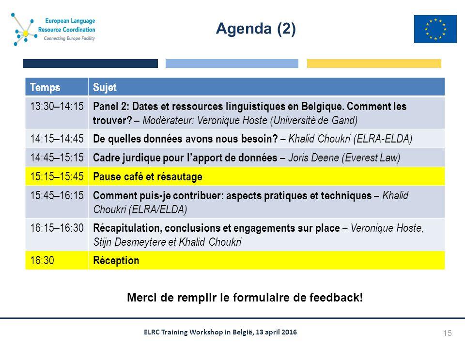 ELRC Training Workshop in België, 13 april 2016 TempsSujet 13:30–14:15 Panel 2: Dates et ressources linguistiques en Belgique.