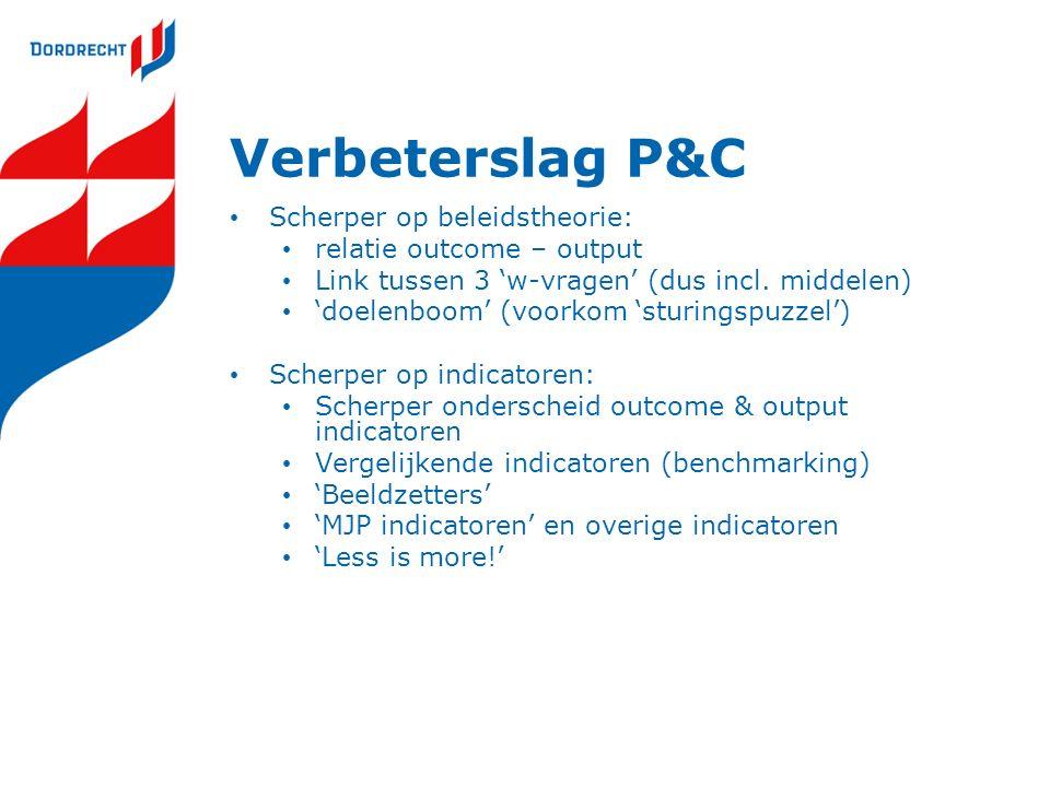 Verbeterslag P&C Scherper op beleidstheorie: relatie outcome – output Link tussen 3 'w-vragen' (dus incl.