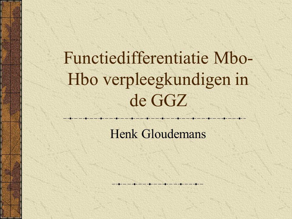 Doelstelling en probleemstelling Duidelijkheid scheppen omtrent de rol en functie-inhoud van de Mbo en Hbo opgeleide verpleegkundigen in de GGZ Welke onderscheidende kenmerken zijn er tussen Mbo en Hbo opgeleide verpleegkundigen in de GGZ en hoe kan dit middels functiedifferentiatie gestalte krijgen in de praktijk?