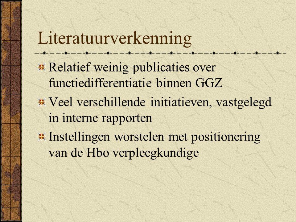 Literatuurverkenning Relatief weinig publicaties over functiedifferentiatie binnen GGZ Veel verschillende initiatieven, vastgelegd in interne rapporten Instellingen worstelen met positionering van de Hbo verpleegkundige