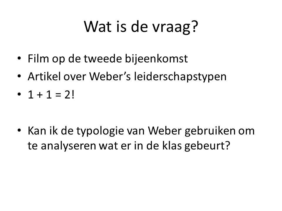 Wat is de vraag? Film op de tweede bijeenkomst Artikel over Weber's leiderschapstypen 1 + 1 = 2! Kan ik de typologie van Weber gebruiken om te analyse