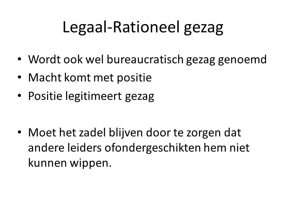 Legaal-Rationeel gezag Wordt ook wel bureaucratisch gezag genoemd Macht komt met positie Positie legitimeert gezag Moet het zadel blijven door te zorg