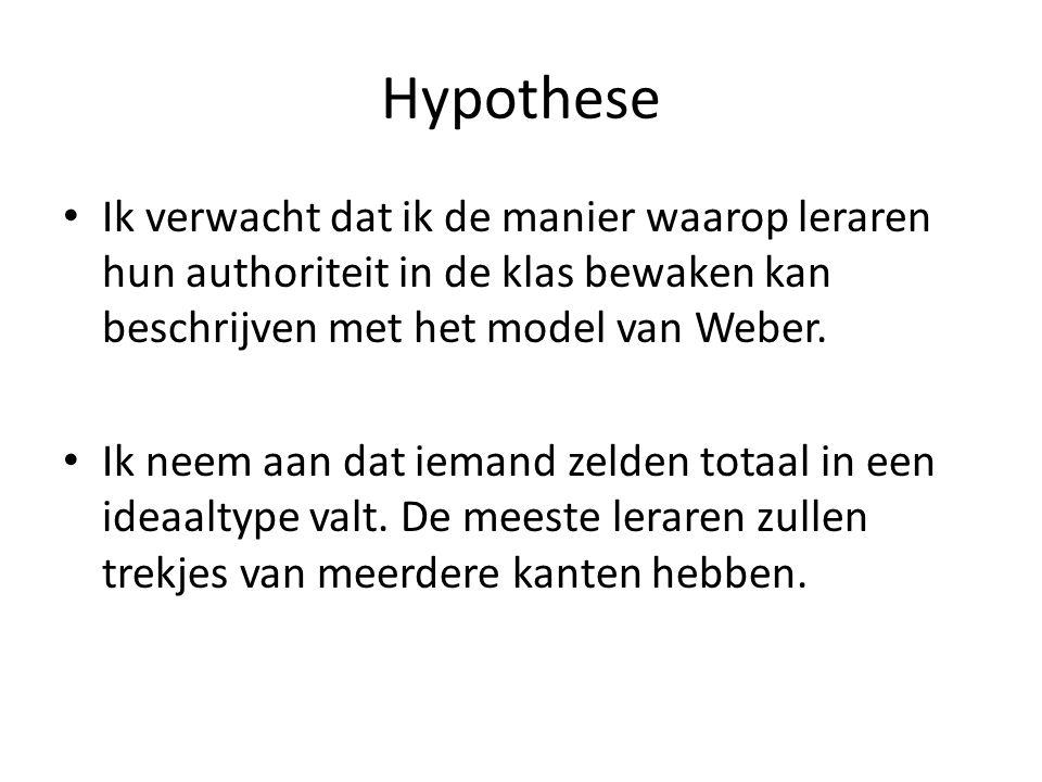 Hypothese Ik verwacht dat ik de manier waarop leraren hun authoriteit in de klas bewaken kan beschrijven met het model van Weber.