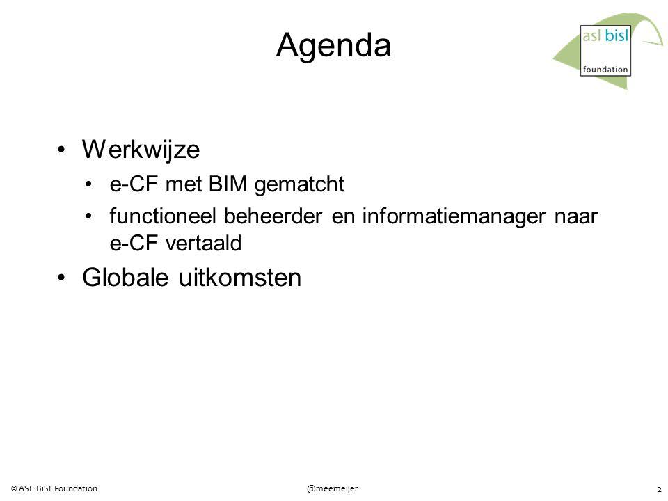 2 @meemeijer© ASL BiSL Foundation Agenda Werkwijze e-CF met BIM gematcht functioneel beheerder en informatiemanager naar e-CF vertaald Globale uitkomsten