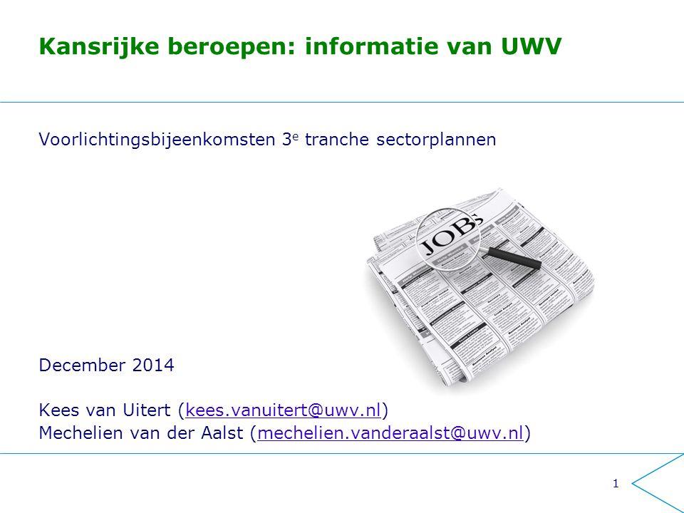Kansrijke beroepen: informatie van UWV Voorlichtingsbijeenkomsten 3 e tranche sectorplannen December 2014 Kees van Uitert (kees.vanuitert@uwv.nl)kees.vanuitert@uwv.nl Mechelien van der Aalst (mechelien.vanderaalst@uwv.nl)mechelien.vanderaalst@uwv.nl 1