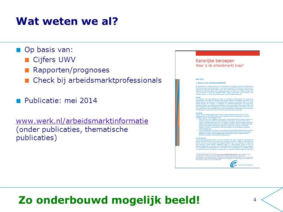 Wat weten we al? Op basis van: Cijfers UWV Rapporten/prognoses Check bij arbeidsmarktprofessionals Publicatie: mei 2014 www.werk.nl/arbeidsmarktinform