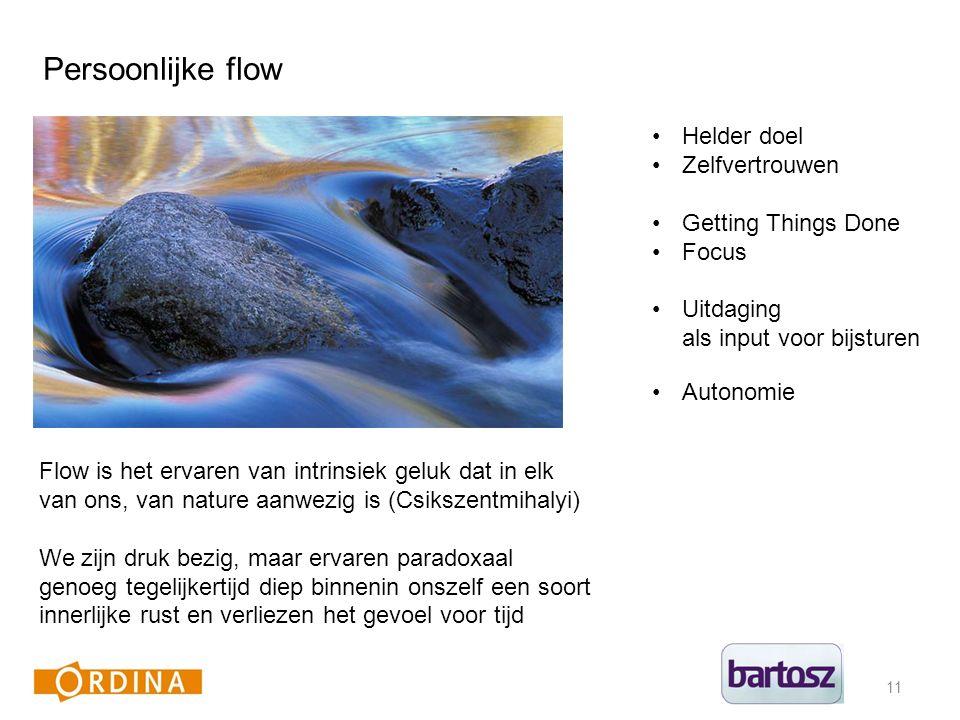 11 Persoonlijke flow Flow is het ervaren van intrinsiek geluk dat in elk van ons, van nature aanwezig is (Csikszentmihalyi) We zijn druk bezig, maar ervaren paradoxaal genoeg tegelijkertijd diep binnenin onszelf een soort innerlijke rust en verliezen het gevoel voor tijd Helder doel Zelfvertrouwen Getting Things Done Focus Uitdaging als input voor bijsturen Autonomie