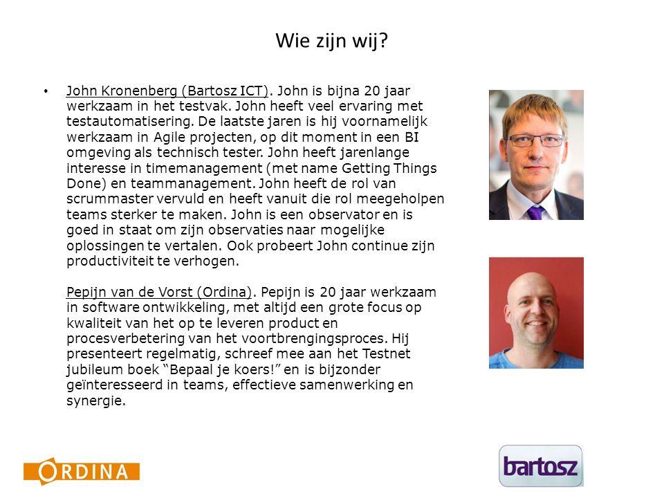 Wie zijn wij. John Kronenberg (Bartosz ICT). John is bijna 20 jaar werkzaam in het testvak.