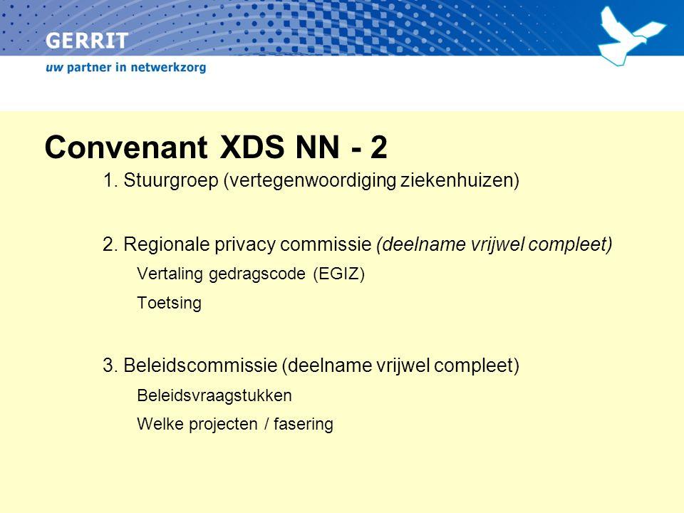 Convenant XDS NN - 2 1. Stuurgroep (vertegenwoordiging ziekenhuizen) 2. Regionale privacy commissie (deelname vrijwel compleet) Vertaling gedragscode
