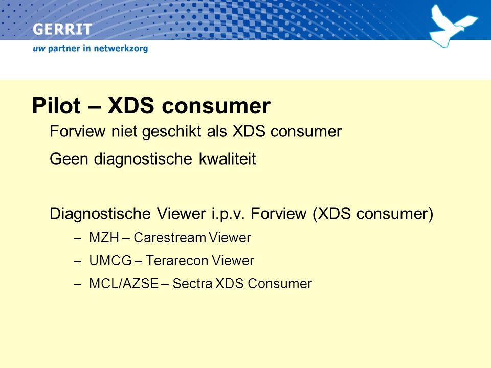 Pilot – XDS consumer Forview niet geschikt als XDS consumer Geen diagnostische kwaliteit Diagnostische Viewer i.p.v. Forview (XDS consumer) –MZH – Car