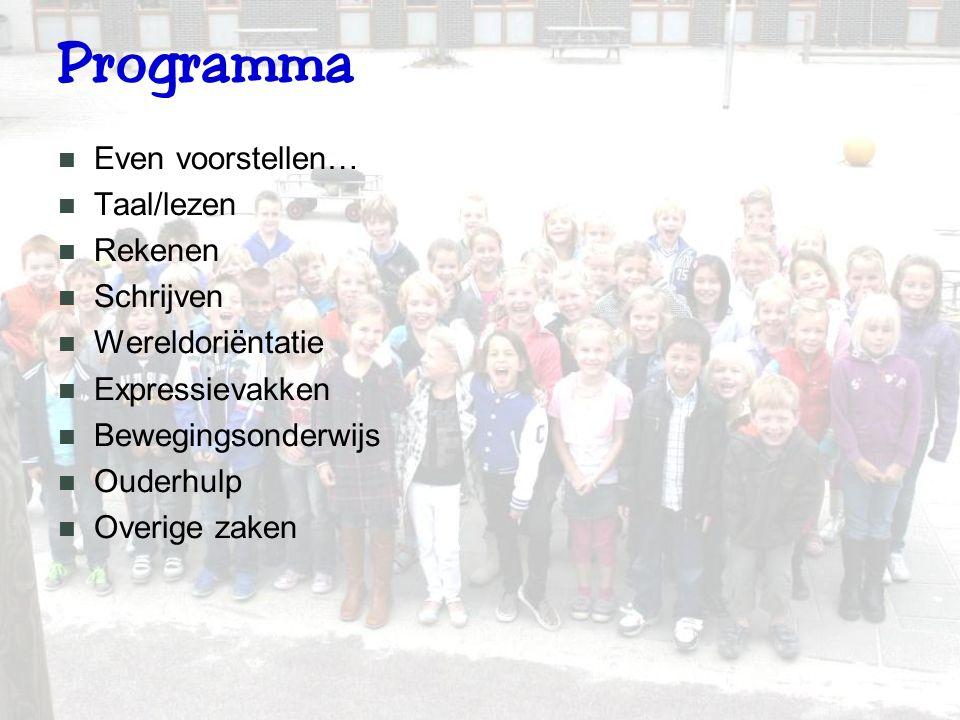 Programma Even voorstellen… Taal/lezen Rekenen Schrijven Wereldoriëntatie Expressievakken Bewegingsonderwijs Ouderhulp Overige zaken