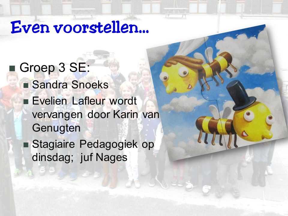 Even voorstellen… Groep 3 SE: Sandra Snoeks Evelien Lafleur wordt vervangen door Karin van Genugten Stagiaire Pedagogiek op dinsdag; juf Nages