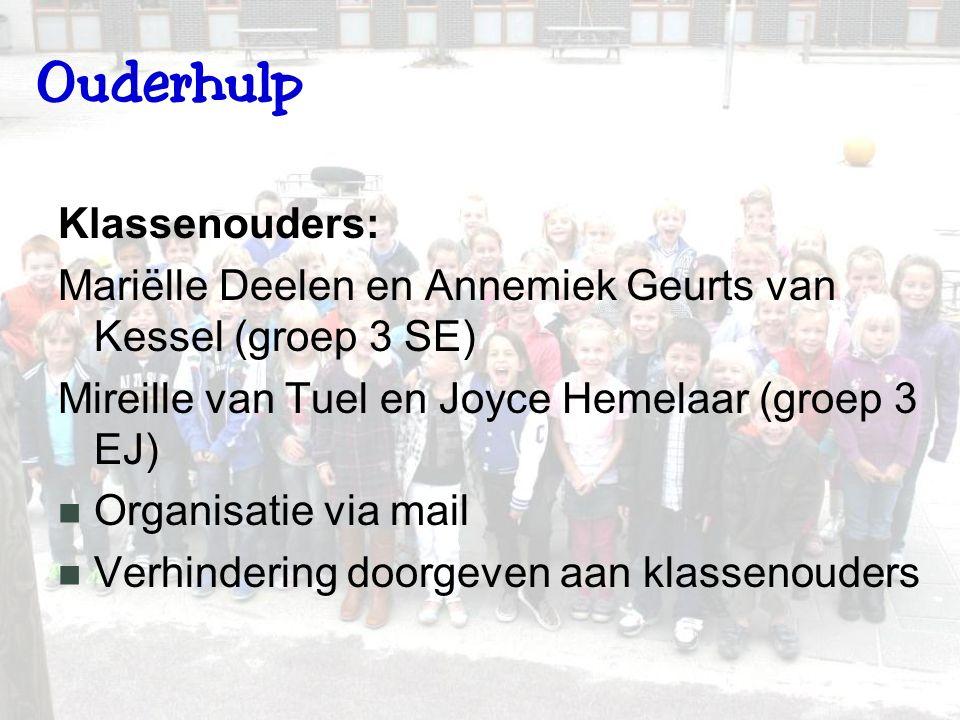Ouderhulp Klassenouders: Mariëlle Deelen en Annemiek Geurts van Kessel (groep 3 SE) Mireille van Tuel en Joyce Hemelaar (groep 3 EJ) Organisatie via mail Verhindering doorgeven aan klassenouders