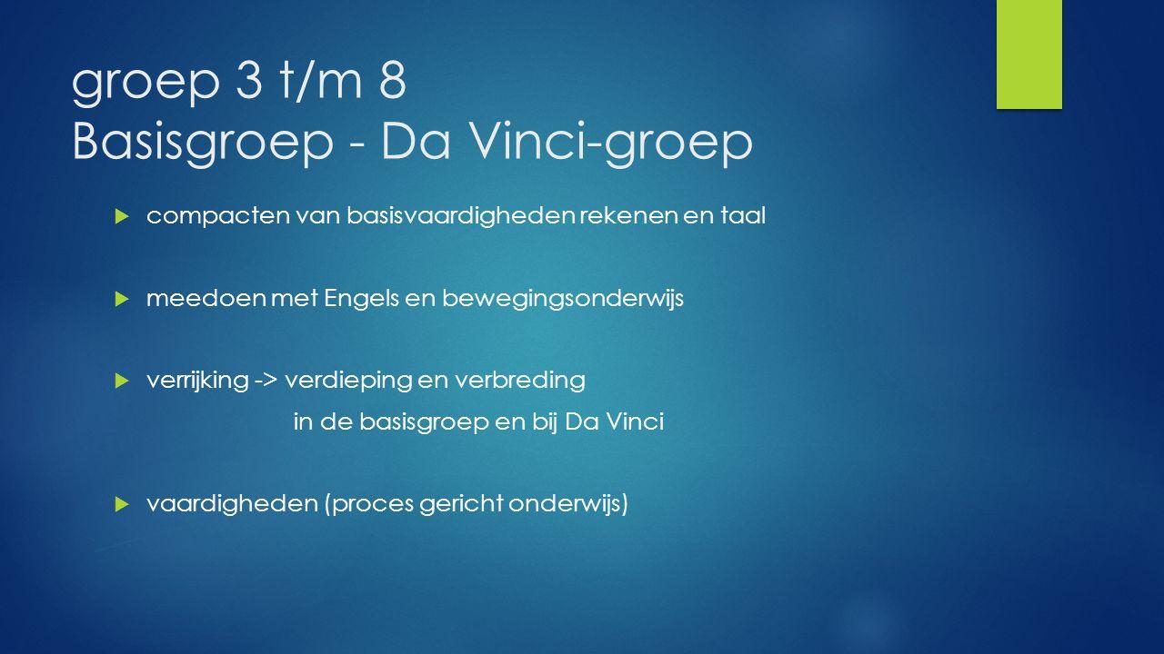 groep 3 t/m 8 Basisgroep - Da Vinci-groep  compacten van basisvaardigheden rekenen en taal  meedoen met Engels en bewegingsonderwijs  verrijking -> verdieping en verbreding in de basisgroep en bij Da Vinci  vaardigheden (proces gericht onderwijs)